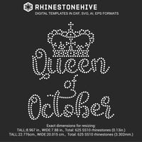 Queen of October Birthday rhinestone template digital download, ai, svg, eps, png, dxf - rhinestone templates