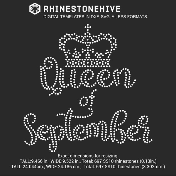 Queen of September Birthday rhinestone template digital download, ai, svg, eps, png, dxf - rhinestone templates