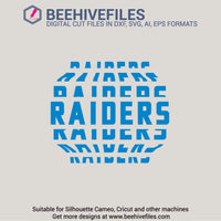 Raiders team name stacked 6 styles in svg, dxf, png, ai, eps format - rhinestone templates