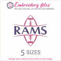 Rams Football Ball Embroidery in DST, EXP, HUS, JEF, PCS, PES, SEW, VIP, VP3 & XXX - rhinestone templates