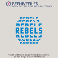Rebels team name stacked 6 styles in svg, dxf, png, ai, eps format - rhinestone templates