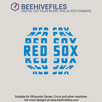 Red Sox team name stacked 6 styles in svg, dxf, png, ai, eps format - rhinestone templates