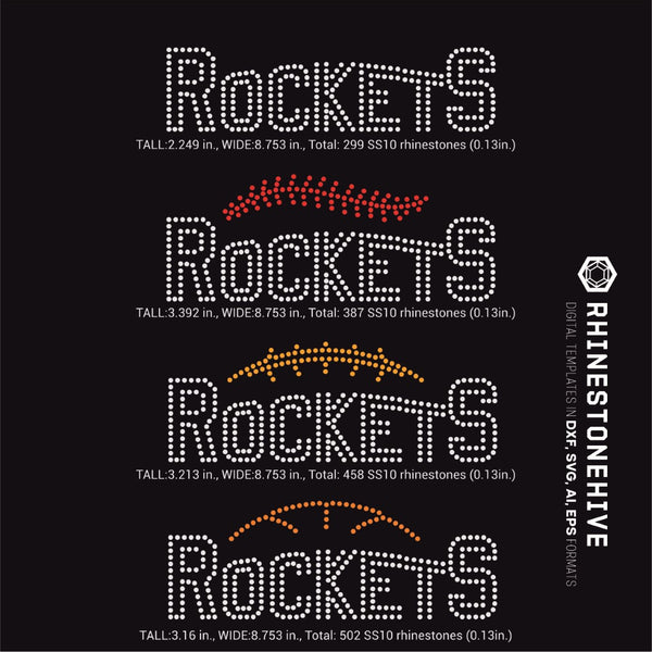 Rockets team baseball, football, basketball, sport digital rhinestone templates, ai, svg, eps, png, dxf - rhinestone templates