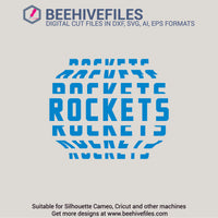 Rockets team name stacked 6 styles in svg, dxf, png, ai, eps format - rhinestone templates