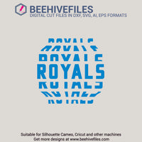 Royals team name stacked 6 styles in svg, dxf, png, ai, eps format - rhinestone templates