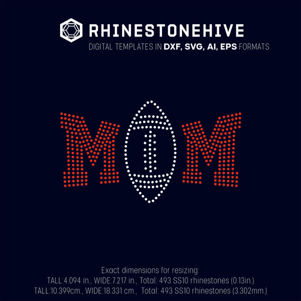 Football MOM rhinestone template digital download, ai, svg, eps, png, dxf - rhinestone templates