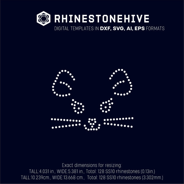 Mouse face rhinestone template digital download, ai, svg, eps, png, dxf - rhinestone templates