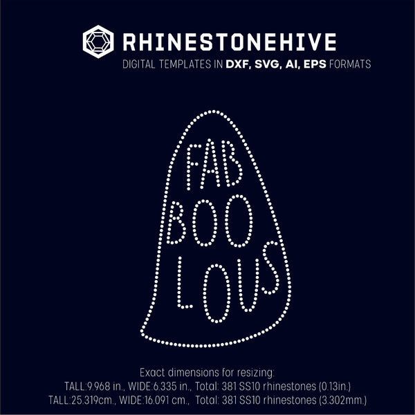 Fab boo lous rhinestone template digital download, ai, svg, eps, png, dxf - rhinestone templates