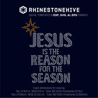 Jesus is the Reason for the Season rhinestone template digital download, ai, svg, eps, png, dxf - rhinestone templates
