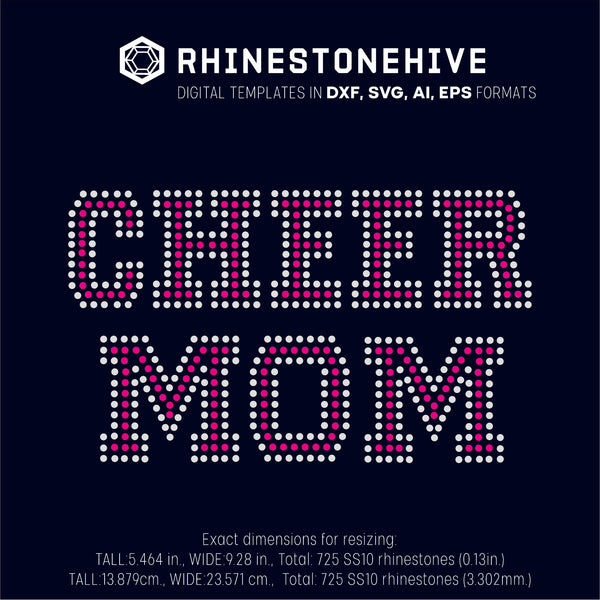Cheer MOM rhinestone template digital download, ai, svg, eps, png, dxf - rhinestone templates