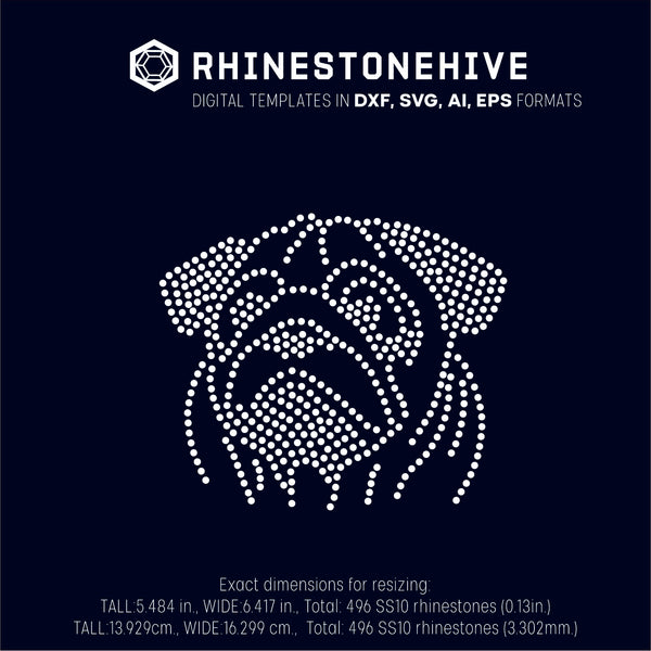 Pug rhinestone template digital download, svg, eps, png, dxf SS10