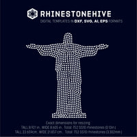 Jesus statue rhinestone template digital download, svg, eps, ai, png, dxf - rhinestone templates