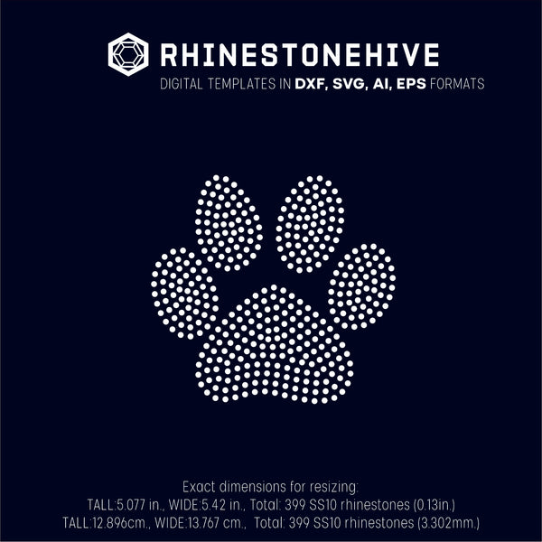 Dog paw rhinestone template digital download, ai, svg, eps, png, dxf - rhinestone templates