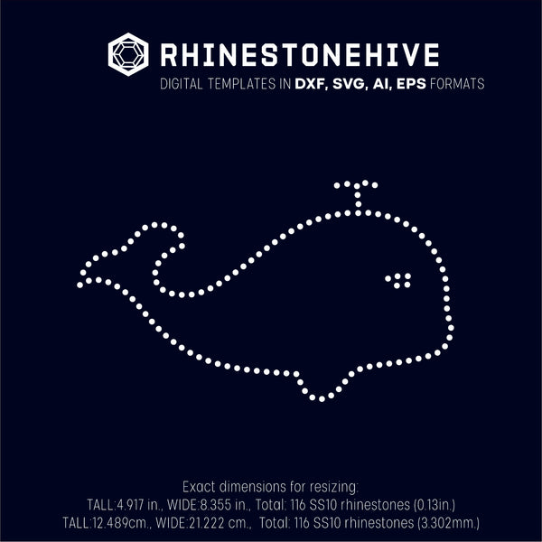 Whale rhinestone template digital download, svg, eps, png, dxf - rhinestone templates