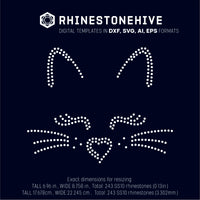 Cat face rhinestone template digital download, ai, svg, eps, png, dxf - rhinestone templates