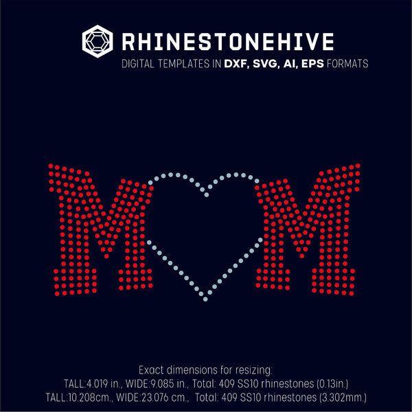 MOM rhinestone template digital download, svg, eps, ai, png, dxf - rhinestone templates