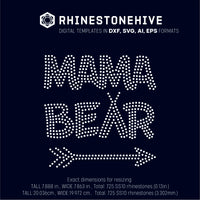 Mama bear rhinestone template digital download, svg, eps, png, dxf - rhinestone templates