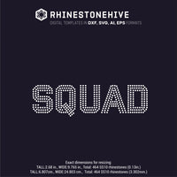 SQUAD rhinestone template digital download, ai, svg, eps, png, dxf - rhinestone templates