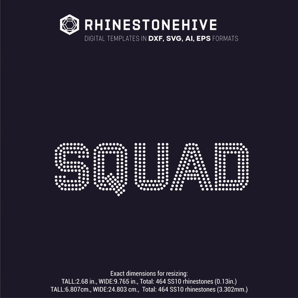 SQUAD rhinestone template digital download, ai, svg, eps, png, dxf