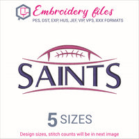 Saints Football Embroidery in DST, EXP, HUS, JEF, PCS, PES, SEW, VIP, VP3 & XXX - rhinestone templates