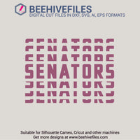 Senators team name stacked 6 styles in svg, dxf, png, ai, eps format - rhinestone templates