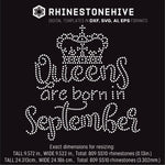 Queens are born in  September Birthday rhinestone template digital download, ai, svg, eps, png, dxf - rhinestone templates