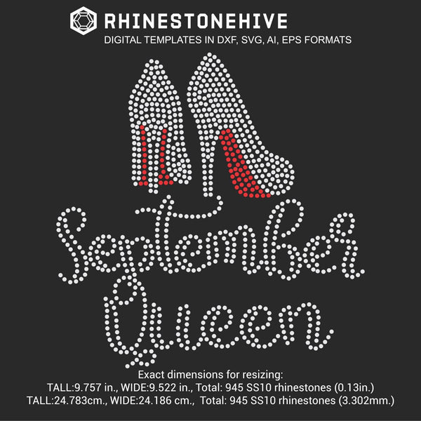 September Queen high heels Birthday rhinestone template digital download, ai, svg, eps, png, dxf - rhinestone templates