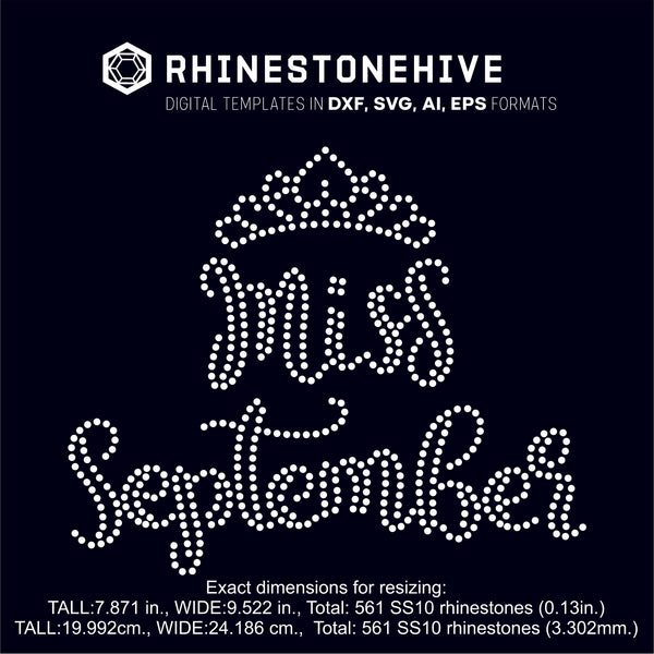 Miss September rhinestone template digital download, ai, svg, eps, png, dxf SS10