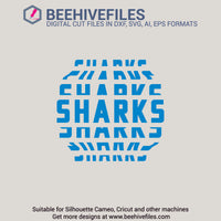 Sharks team name stacked 6 styles in svg, dxf, png, ai, eps format - rhinestone templates