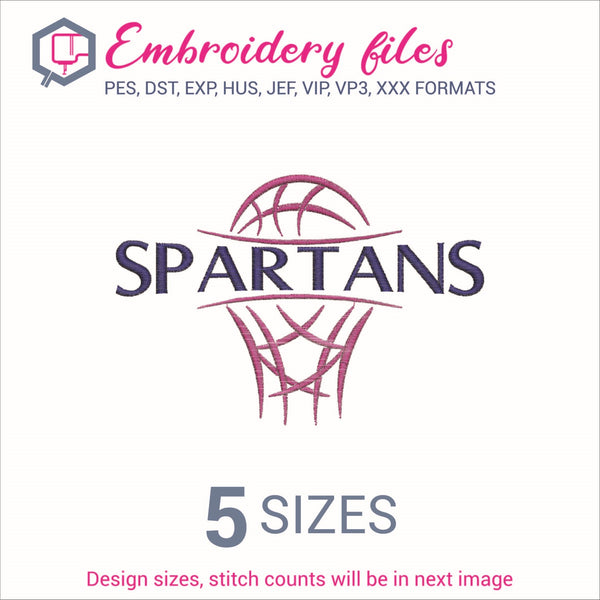Spartans team Basketball Embroidery in DST, EXP, HUS, JEF, PCS, PES, SEW, VIP, VP3 & XXX - rhinestone templates