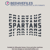 Spartans team name stacked 6 styles in svg, dxf, png, ai, eps format - rhinestone templates