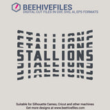 Stallions team name stacked 6 styles in svg, dxf, png, ai, eps format - rhinestone templates
