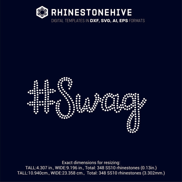 SWAG rhinestone template digital download, ai, svg, eps, png, dxf