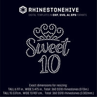 Sweet tenth birthday rhinestone template digital download, ai, svg, eps, png, dxf - rhinestone templates