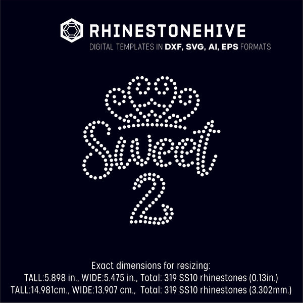 Sweet second birthday rhinestone template digital download, ai, svg, eps, png, dxf SS10