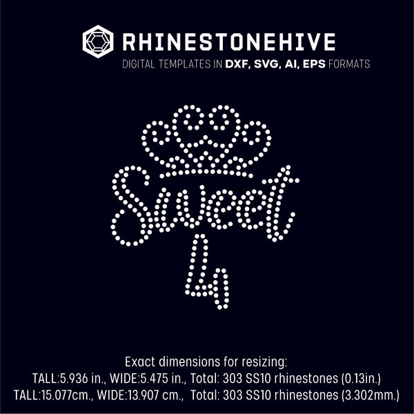 Sweet fourth birthday rhinestone template digital download, ai, svg, eps, png, dxf - rhinestone templates