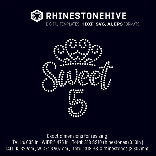 Sweet fifth birthday rhinestone template digital download, ai, svg, eps, png, dxf - rhinestone templates