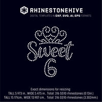 Sweet sixth birthday rhinestone template digital download, ai, svg, eps, png, dxf SS10