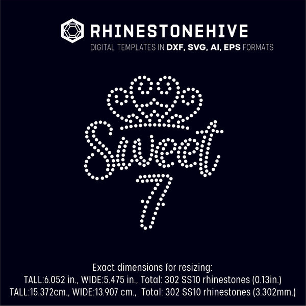Sweet seventh birthday rhinestone template digital download, ai, svg, eps, png, dxf - rhinestone templates