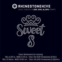 Sweet eighth birthday rhinestone template digital download, ai, svg, eps, png, dxf SS10