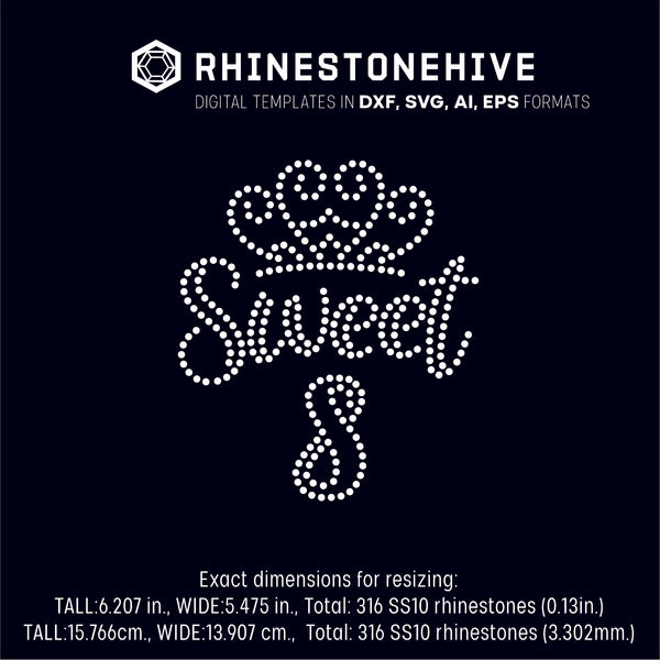 Sweet eighth birthday rhinestone template digital download, ai, svg, eps, png, dxf - rhinestone templates