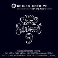 Sweet ninth birthday rhinestone template digital download, ai, svg, eps, png, dxf - rhinestone templates