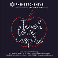 Teach love inspire rhinestone template digital download, ai, svg, eps, png, dxf