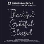 Thankful Grateful Blessed  rhinestone template digital download, ai, svg, eps, png, dxf