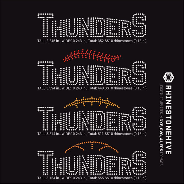Thunders team baseball, football, basketball, sport digital rhinestone templates, ai, svg, eps, png, dxf - rhinestone templates