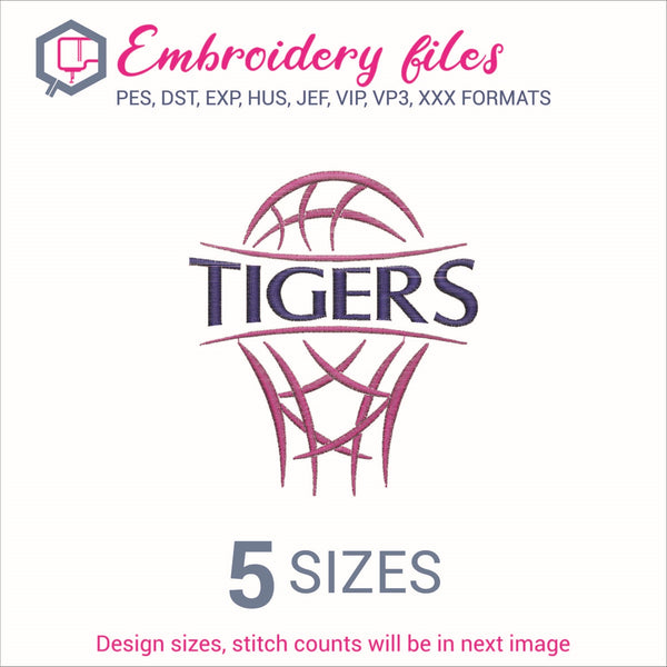 Tigers team Basketball Embroidery in DST, EXP, HUS, JEF, PCS, PES, SEW, VIP, VP3 & XXX - rhinestone templates
