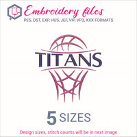 Titans team Basketball Embroidery in DST, EXP, HUS, JEF, PCS, PES, SEW, VIP, VP3 & XXX - rhinestone templates