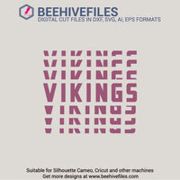 Vikings team name stacked 6 styles in svg, dxf, png, ai, eps format - rhinestone templates