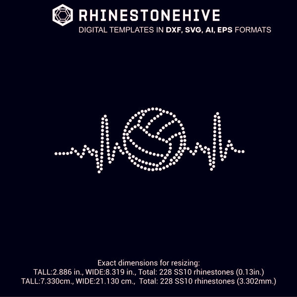 Volleyball Heartbeat EKG rhinestone template digital download, ai, svg, eps, png, dxf - rhinestone templates