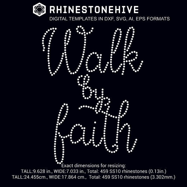 Walk by faith rhinestone template digital download, ai, svg, eps, png, dxf - rhinestone templates